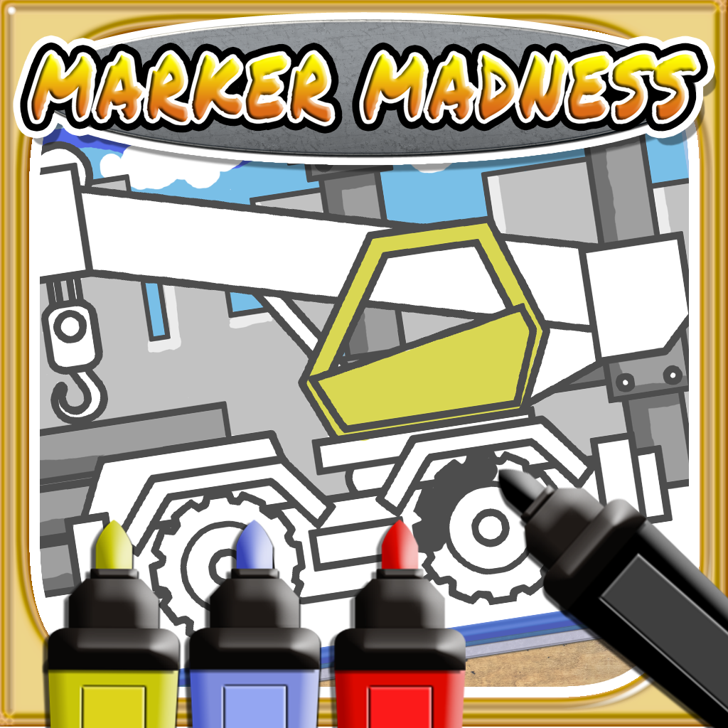 Marker Mania for Boys - A Truck & Construction Coloring Book App
